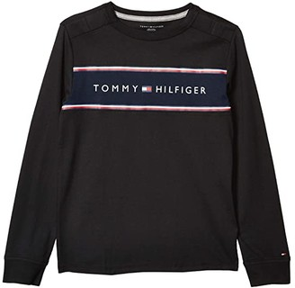 Tommy Hilfiger Adaptive ong Sleeve T Shirt with Touch Fastener Closure (Little Kids/Big Kids) (Jet Black) Men's Clothing