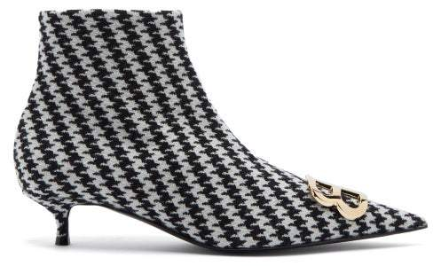 Balenciaga Houndstooth Bb Ankle Boots - Womens - Black White
