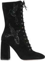 RED Valentino sequined bird lace-up boots