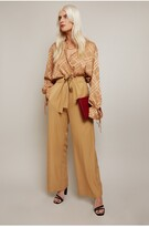 Thumbnail for your product : Little Mistress Victoria Camel Tailored Wide Leg Trouser With Waist Tie Detail