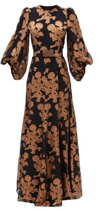 Andrew Gn Metallic Floral Fil-coupe Silk-blend Gown - Black Gold