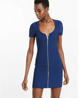 Express navy ribbed zip dress