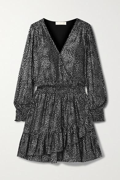 MICHAEL Michael Kors Wrap-effect Ruffled Metallic Printed Georgette Mini Dress - Black