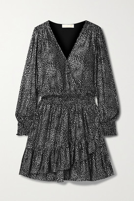 MICHAEL Michael Kors Wrap-effect Ruffled Metallic Printed Georgette Mini Dress - Black