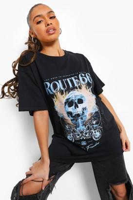 boohoo Route 66 License Print T-shirt