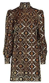 Gucci Women's Lamé Jacquard Long-Sleeve Turtleneck Shift Cocktail Dress