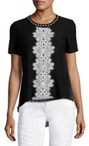Elie Tahari Raquel Embroidered Short-Sleeve Sweater w/ Chiffon Back, Black