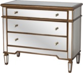 The Well Appointed House Worlds Away Cary Mirrored Three Drawer Chest with Antique Gold Painted Wood Edges
