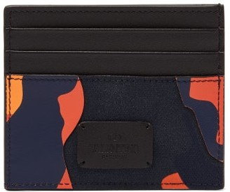 Valentino Camouflage Canvas And Leather Cardholder - Mens - Camouflage
