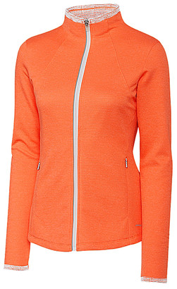 Cutter & Buck Women's Non-Denim Casual Jackets Orange - Orange Brisk Mock Neck Zip-Up Fleece Jacket - Women