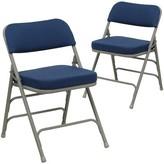 Laduke Fabric Padded Folding Chair Symple Stuff Color: Navy/Gray