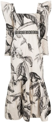 Johanna Ortiz Ruffled Leaf-Print Dress