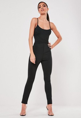 Missguided Black Bandage Strappy Unitard Romper