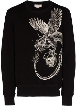 Alexander McQueen Crew Neck Dragon Print Sweatshirt