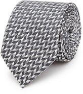 Reiss Reiss Senta - Herringbone Silk Tie In White
