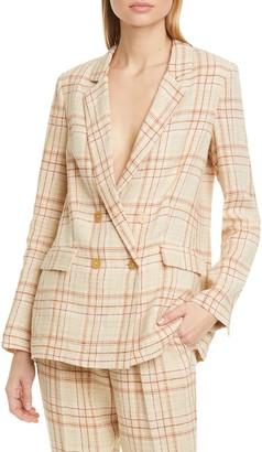 Forte Forte Tartan Plaid Linen & Cotton Blend Blazer