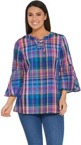 Isaac Mizrahi Live! Madras Plaid Bell Sleeve Lace-Up Blouse