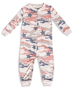 PJ Salvage Girls' Star Camo Print Pajama Coverall - Little Kid