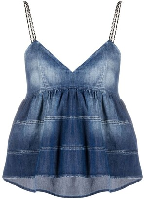 Dondup Tiered Denim Tank-Top