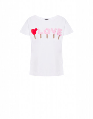 Love Moschino T-shirt Ice Cream Logo Woman White Size 38 It - (4 Us)