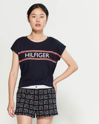 Tommy Hilfiger Two-Piece Stripe Logo Tee & Shorts PJ Set