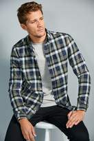 Mens Next Blue/Green Brushed Flannel Check Long Sleeve Shirt - Blue