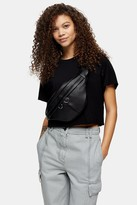 Topshop Womens Petite Black Raglan Crop T-Shirt - Black