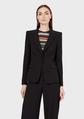 Giorgio Armani Single-Breasted Crepe Jacket With Cuffs Lined With Webbing