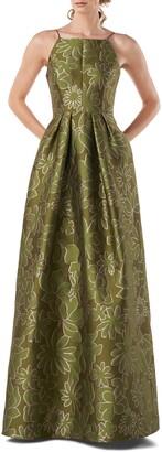 Kay Unger Two-Tone Jacquard Sleeveless Ballgown