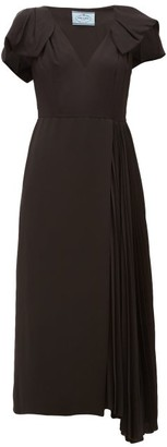 Prada Bow-sleeve Pleated Twill Midi Dress - Womens - Black