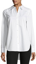 Elie Tahari Alina Long-Sleeve Button-Front Silk Blouse w/ Pearlescent Trim