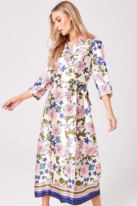 Girls On Film Edessa Floral-Print Satin Wrap Dress