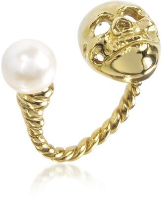 Bronze Skull Ring w/Pearl
