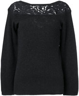 Agnona guipure inset slash neck sweater