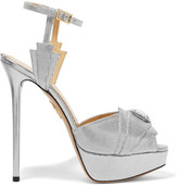 Charlotte Olympia Sky Scraper Embellished Metallic Textured-leather Sandals - Silver