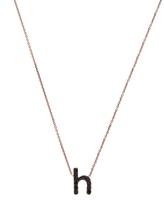 KC Designs Rose Gold Black Diamond Letter H Necklace