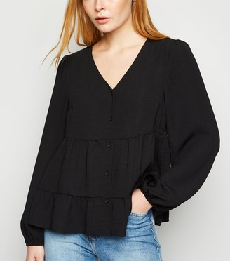 New Look Tiered Button Up Long Sleeve Blouse