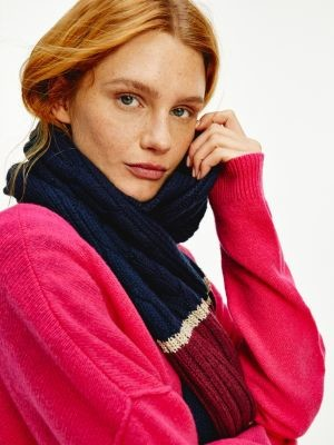 Tommy Hilfiger Signature Tape Sparkle Cable Knit Scarf