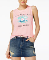 Freeze 24-7 Juniors' Sequined Shell Phone Graphic Tank Top