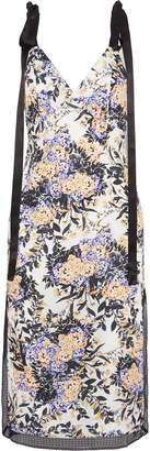 GOEN.J Lace-trimmed Floral-print Washed-crepe Midi Dress