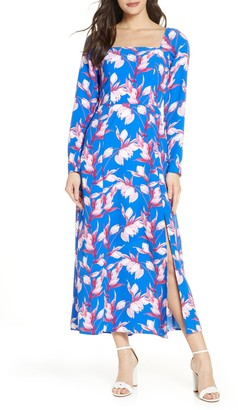 Charles Henry Floral Long Sleeve Maxi Dress