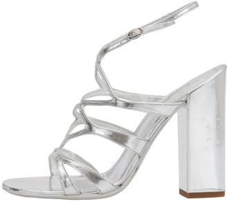 Saint Laurent Paris Silver Patent Leather Strappy Block Heel Sandals Size 38.5