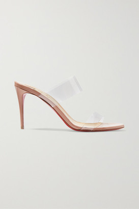 Christian Louboutin Just Nothing 85 Pvc And Patent-leather Mules - Neutral