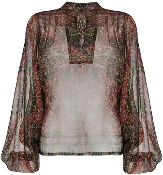 Etro Mandarin Collar Paisley Print Blouse