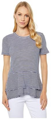 MICHAEL Michael Kors Feeder Stripe Double Hem (True Navy) Women's T Shirt