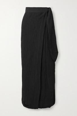 Mara Hoffman Net Sustain Thiago Crinkled Organic Linen And Cotton-blend Wrap Skirt