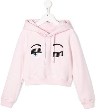Chiara Ferragni Kids winking eyes cropped hoodie