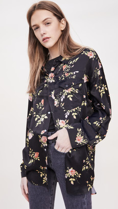R 13 Black Floral Oversized Shirt