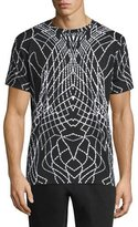 Marcelo Burlon County of Milan Graphic Line Short-Sleeve Jersey T-Shirt, Black