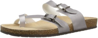 Sugar Women's Xporter 2 Band Cork Sandal Slide with Buckles and Toe Thong Silver Smooth 9.5